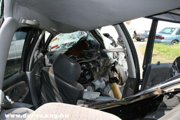 Az utastér baleset után