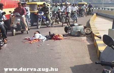 Egy motoros balesete